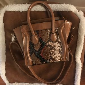 Caramel Colored Boxy Purse with Snakeskin Pattern